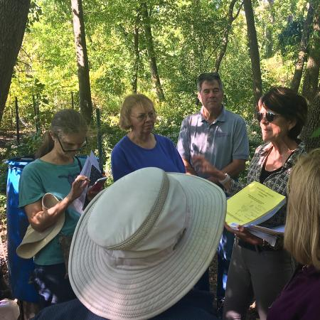 Learning about citizen volunteer efforts to restore the native woodland at Fresh Pond Reservation.