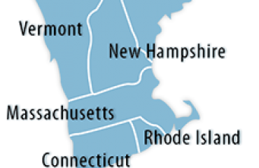 Map of New England states.